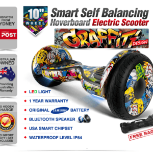 Electric Hoverboard, Self Balancing Scooter -Spider 10 - Graffiti - Bluetooth + Free Carry bag