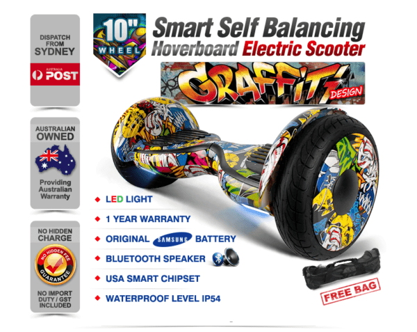 Electric Hoverboard, Self Balancing Scooter -Spider 10 – Graffiti – Bluetooth + Free Carry bag 1
